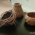 Rainbow Whimsy and two pine needle pots